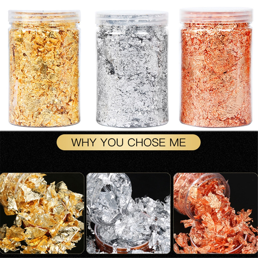 Shiny 10g Gold Foil Jewelry Luxury Resin Decoration Paper Handicrafts Flake Siver Leaf Nail Beauty Gilding DIY Art Craft