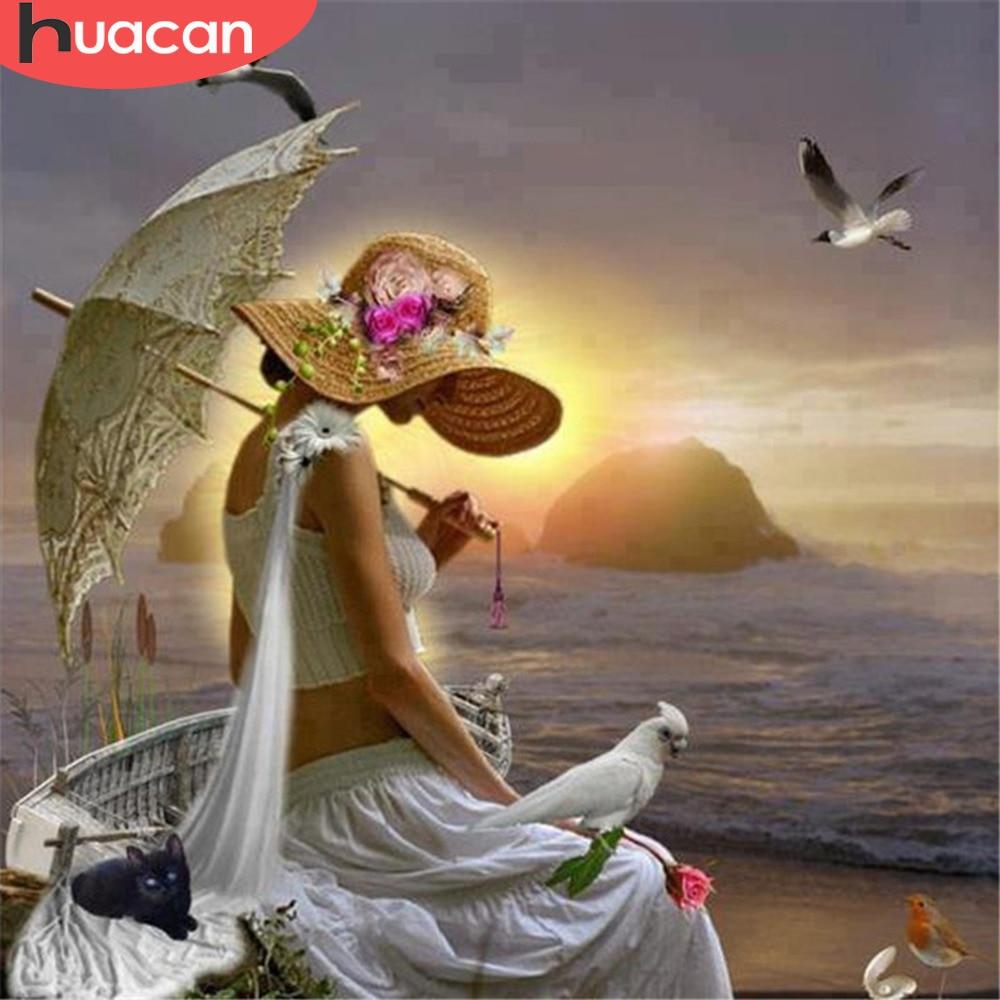 HUACAN 5D Diy Diamond Painting Mosaic Girl Full Kits Diamond Embroidery Sale Full Square Drill Rhinestones Home Decoration