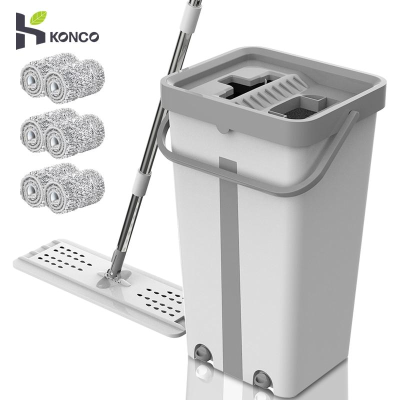 Konco Magie Reinigung Mops Kostenloser Hand Mopp mit Eimer Etagen Squeeze Flache Mopp mit Wasser Home Küche Boden Sauber Werkzeuge