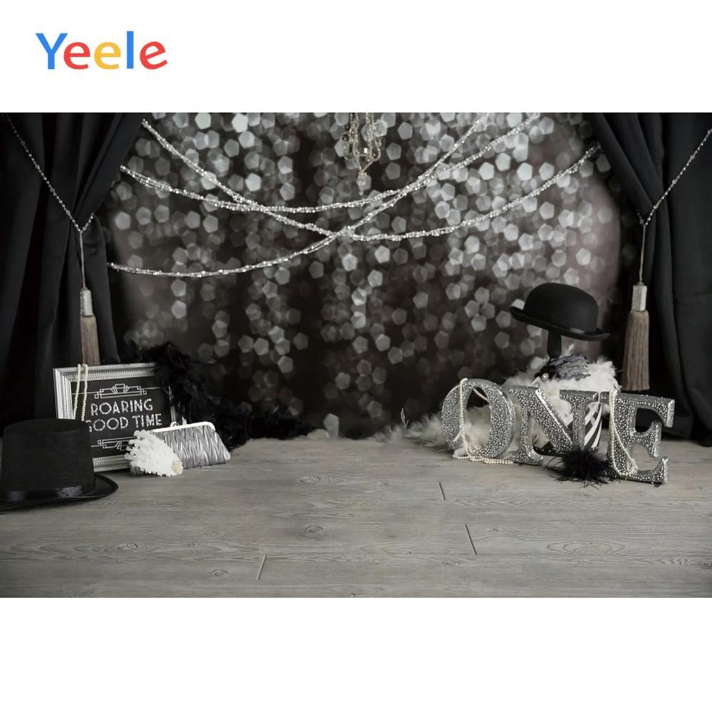Yeele Happy Birthday Wood Floor Black Curtain Spots Background Backdrop Photophone Photo Studio for Decoration Customized Size enlarge