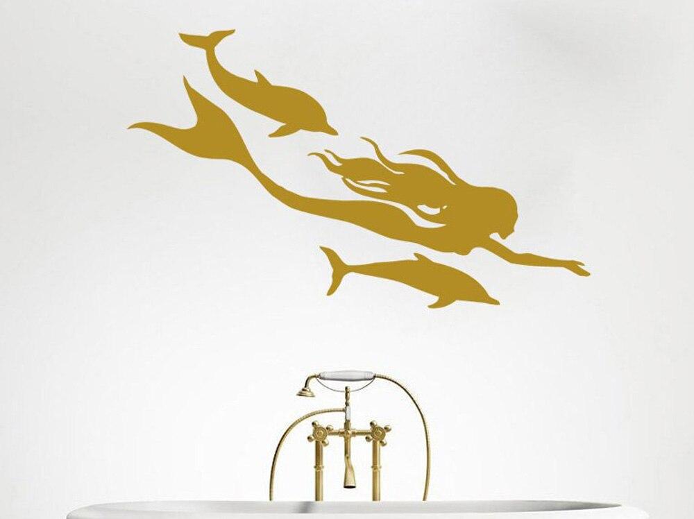 Vinilo arte pared calcomanías Nautical del mar delfín del océano con sirena decoración de baño de moda decoración moderna para habitación calcomanías de belleza LY1673