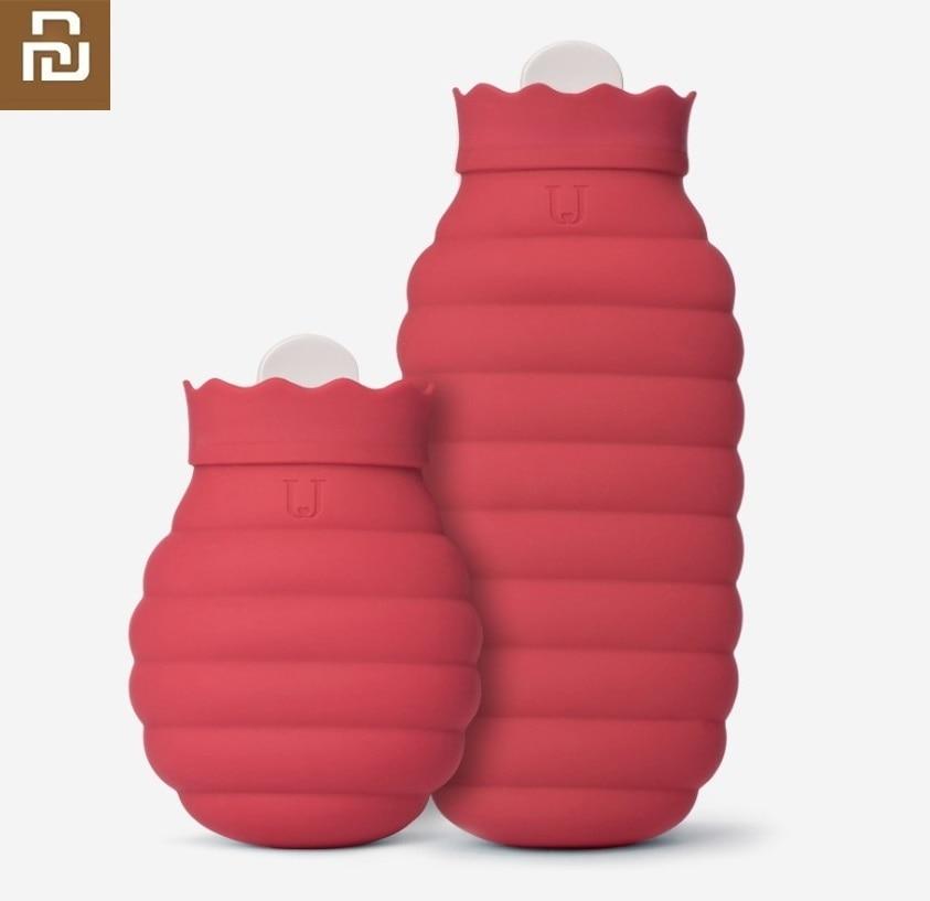 Bolsa de agua caliente de silicona Youpin, calentador para invierno seguro y a prueba de fugas, con cubierta tejida, largo tiempo de retención