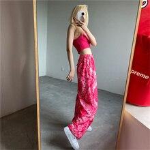 DAILOU Summer Women Print Palazzo Pants Loose Wide Leg Pant Harajuku Fashion Ladies Girls Panttraigh
