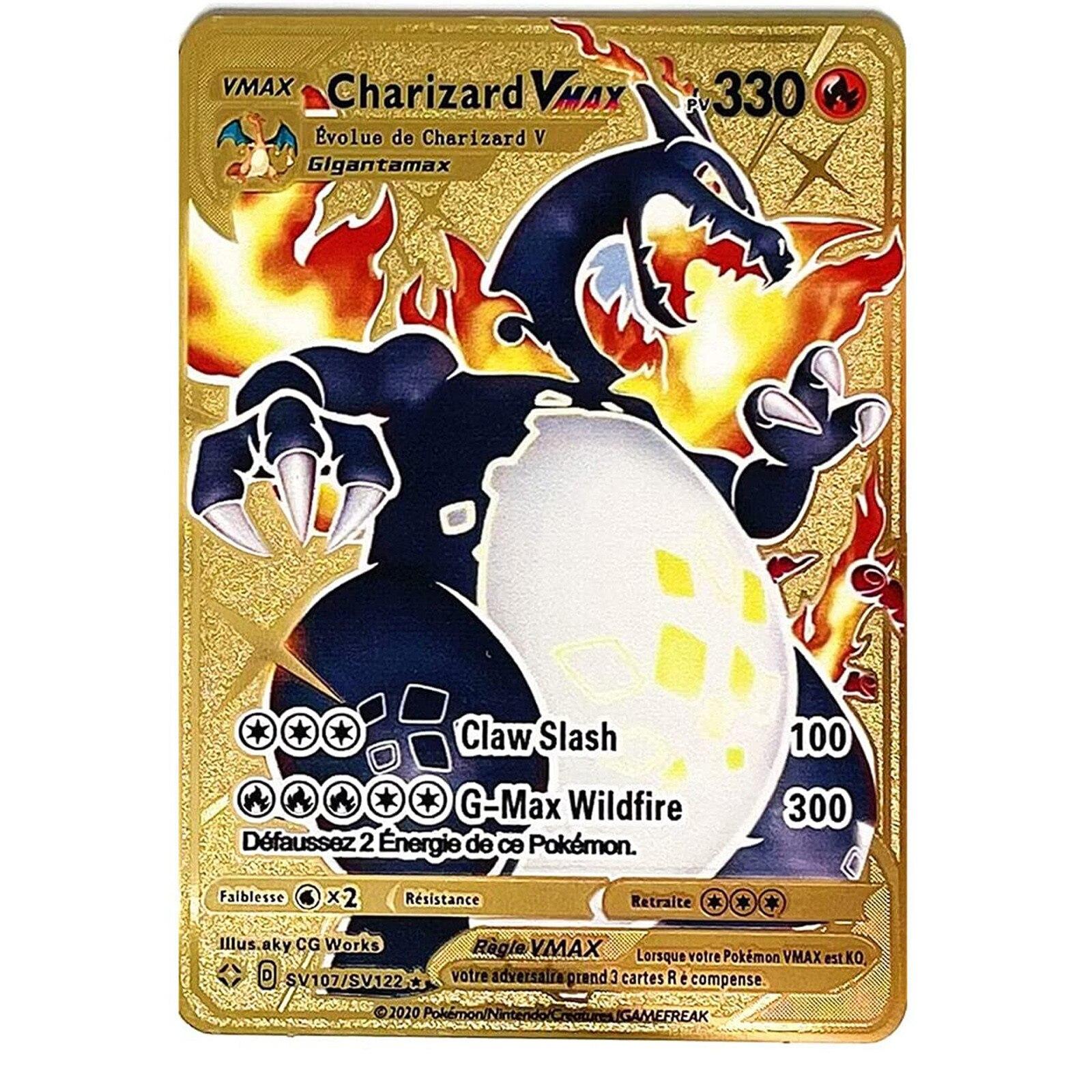 Новинка-Покемон-французская-металлическая-игра-аниме-Боевая-карточка-золотой-огненный-дракон-коллекционная-карточка-экшн-фигурка-мод