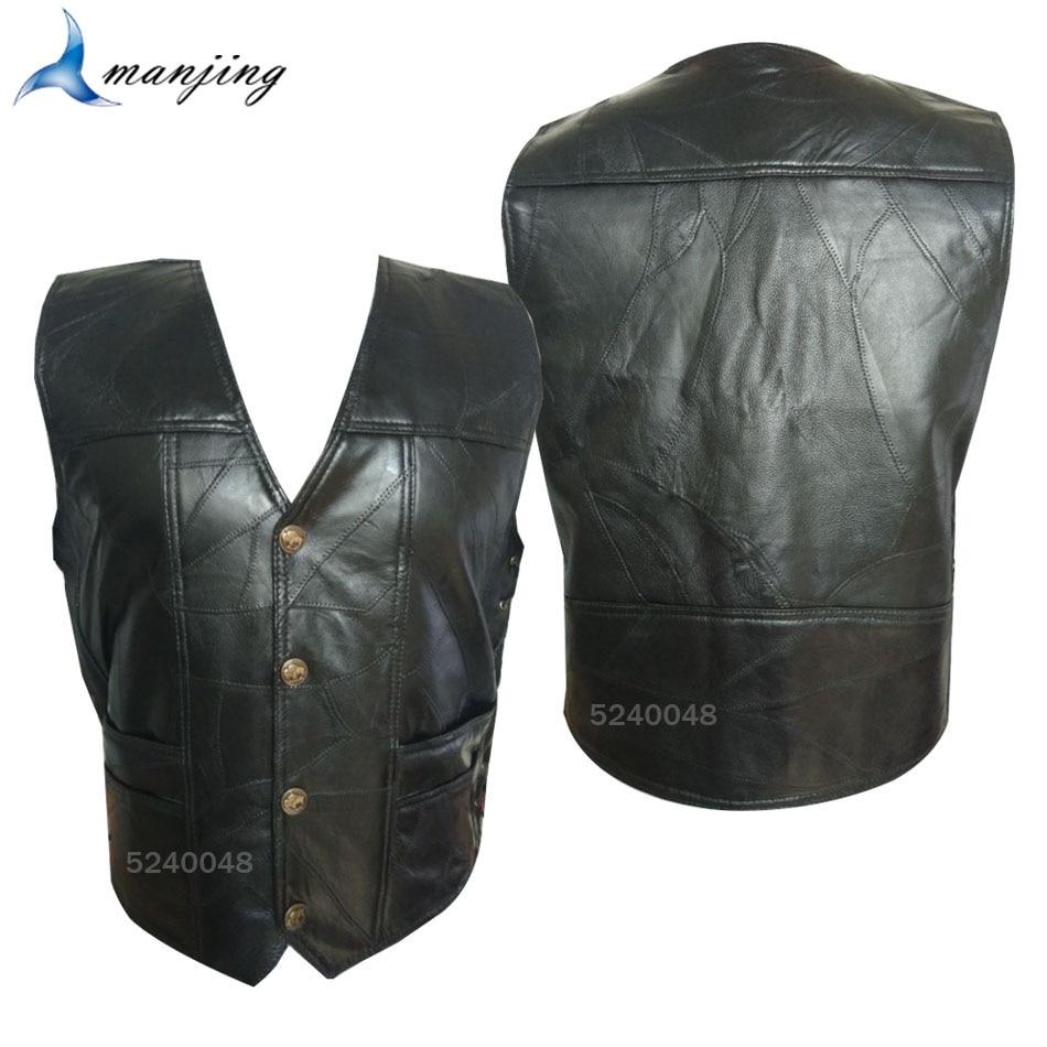 Полный черный мотоциклетный жилет Мужская мотоциклетная куртка Байкерская