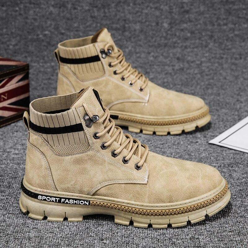 Masculinas de Inverno Botas de Veludo Botas de Trabalho Feito com Ferramentas de Alta-topo Botas Chunky Sapatos Tendência All-match Moda Homem Coreano Quentes 2021