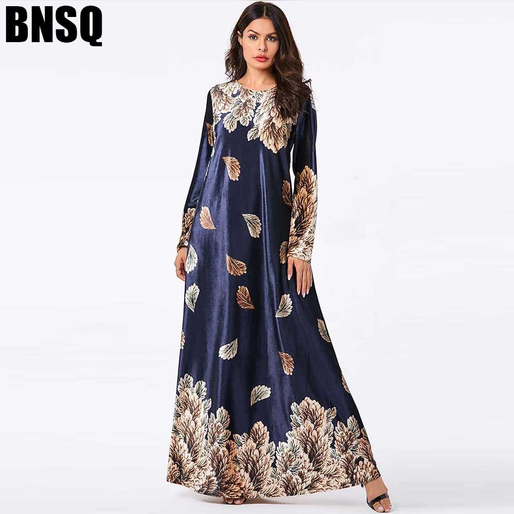 BNSQ Velvet Gold Thread Print Long Dress hijab Muslim Abayas Maxi Robe Dubai Indonesia Dresses Indian Arabic Clothing