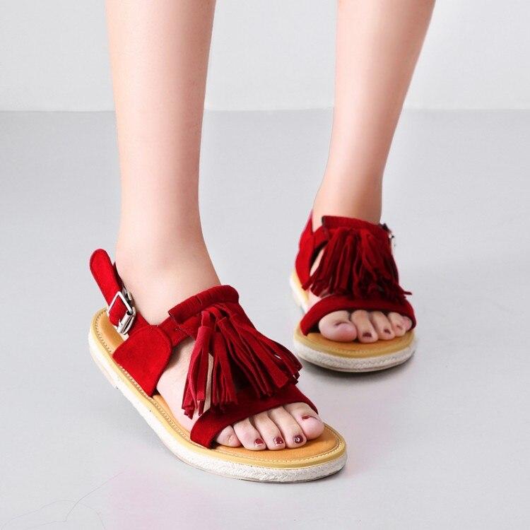 Tamanho grande 11 12 13 14 15 16 verão sandálias lisas senhoras sapatos mulher t-tipo fivela franjas camurça plana sandálias retro