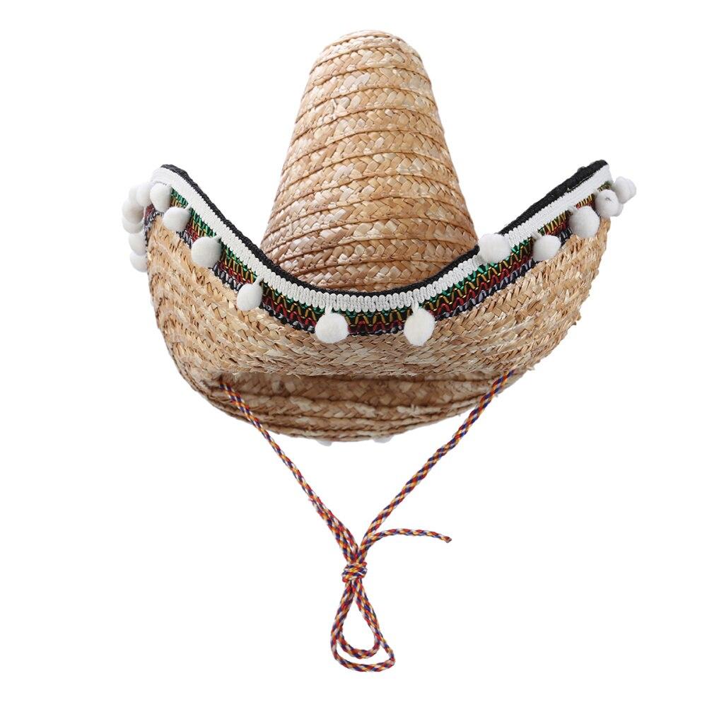 Gorro con pompón sombrero mejicano de paja Estilo Hawaiano accesorios de vestir suministros de fiesta decoración de regalo de cumpleaños (Color hierba)