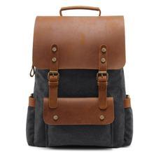 Vintage Canvas Backpack School Bag Waterproof Leather Men Women Travel Bagpack Large Capacity Back Pack Laptop Bag for Women