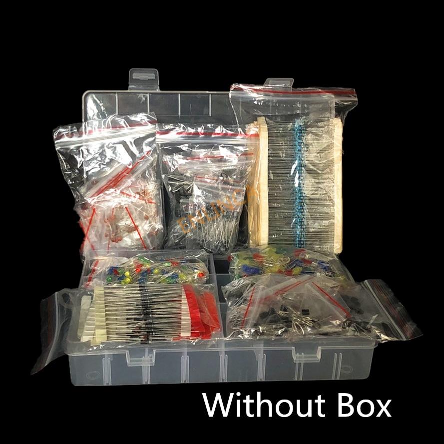 Metal Film Resistor Assortment Kit Led Diodes Electrolytic Capacitor Ceramic Set Transistor Pack Diy Electronic Components Kits