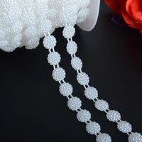 boliao 2 yard 10mm 38 width round shape abs plastic imitation pearl chain trim wedding dress bouquet decoration diy r2041