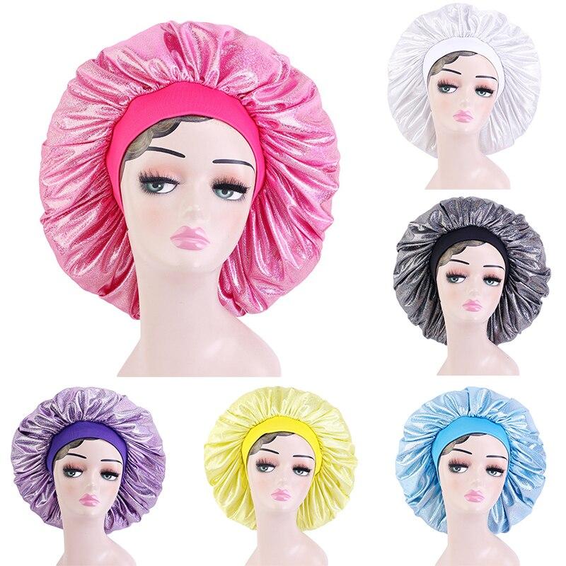 New Big Size Women Nightcap Satin Silky Bonnet Sleep Cap Hair Care Bonnet Hat Unisex Women Men Head