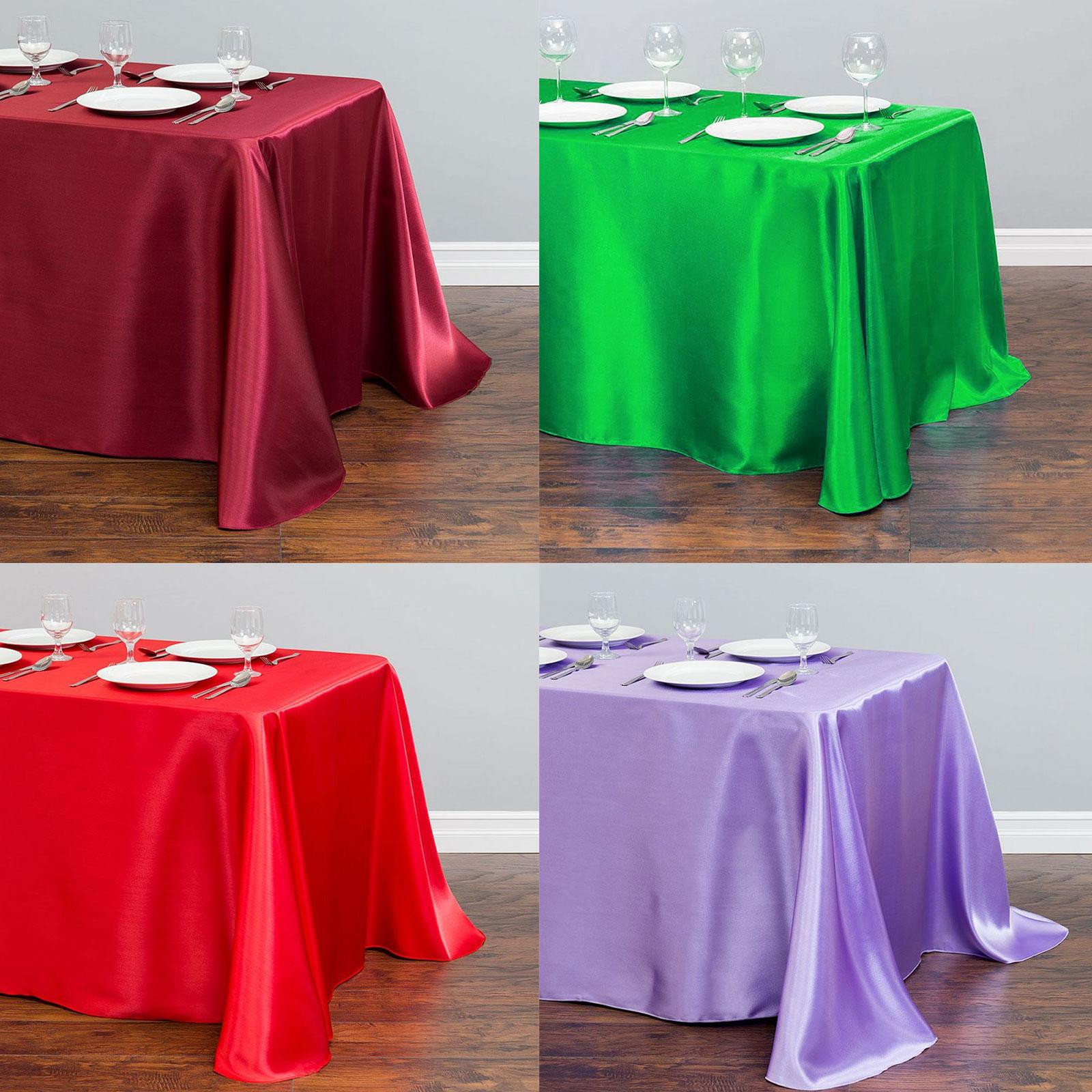 1 pièces Rectangle Satin nappe Table superpositions mariage décoration Banquet Table à manger couverture nouvel an noël nappe