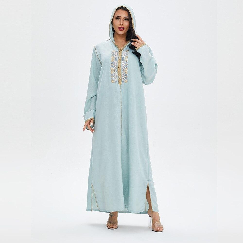 موضة إسلامية قفطان دبي عباية تركيا الحجاب المرأة طويلة التطريز فستان أزرق منامة الملابس الإسلامية الشرق الأوسط رداء