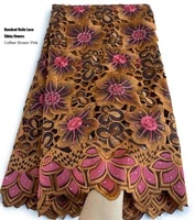fashionable african handcut lace 5 yards nigerian ghana gambia polyester fabric traditional sewing garment clothes