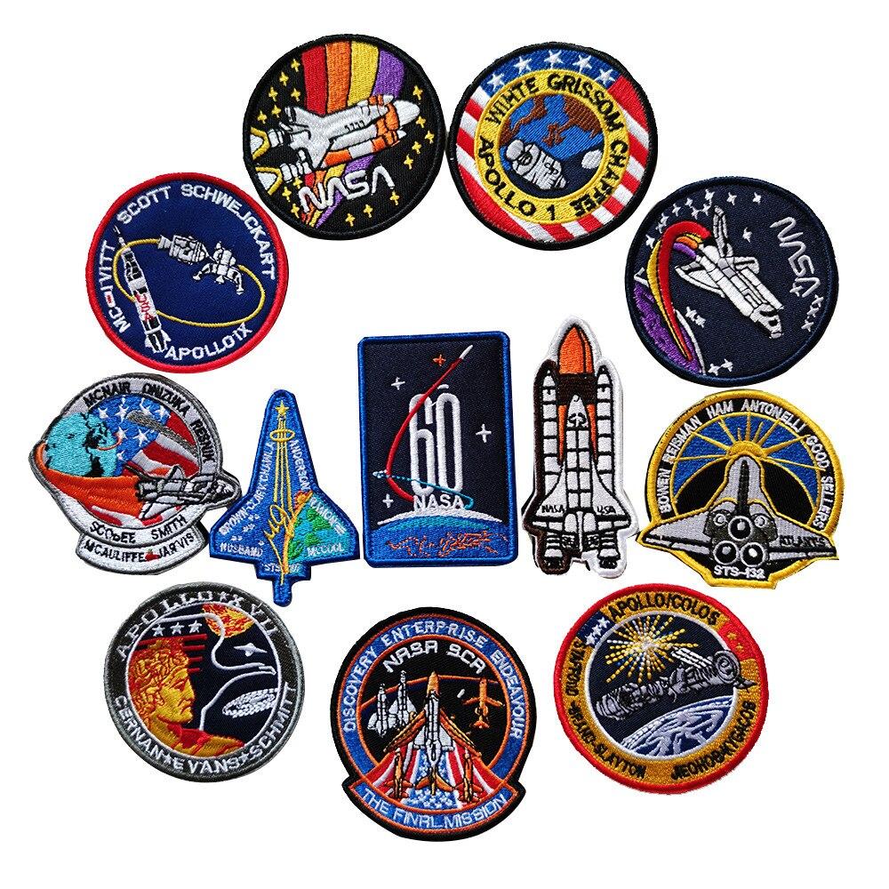 T-N gancho de bordado y Loop Velcro parches sello agencia espacial pegatina de tela Apollo Plan aeroespacial astronauta universo serie placas