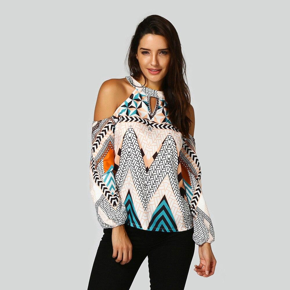Blusas con hombros descubiertos para Mujer, Top Sexy bohemio con estampado geométrico,...