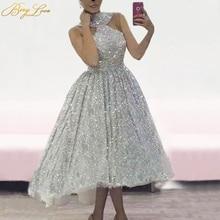 Halter Silver Sequin Evening Prom Dress 2020 Shiny Glitter Sexy vestidos de fiesta Sparkle Sleeveless Arabic robe de soiree