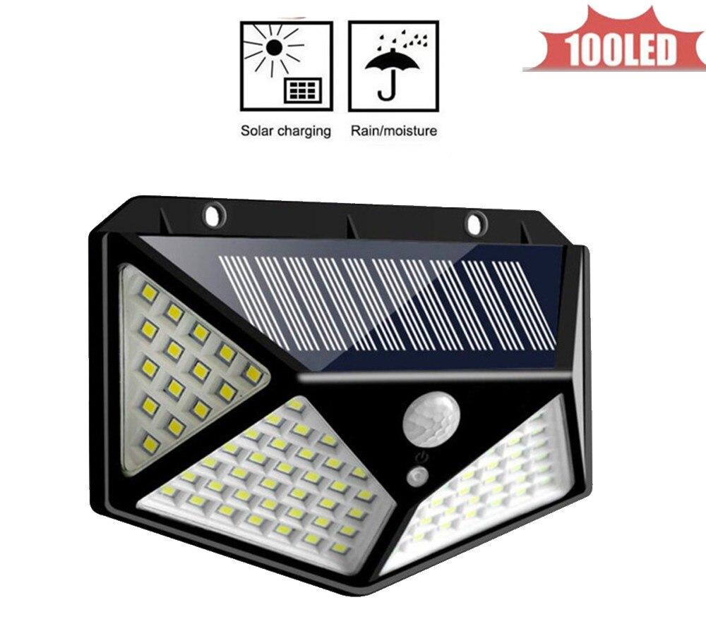 Outdoor Lighting 100 LED Solar Body Sensor Light Outdoor Wall Lamp Garden Integrated Street Light Waterproof Home Light 4 sided
