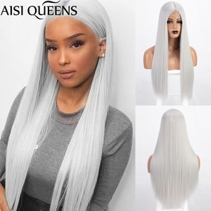 AISI QUEENS Long Straight Lace Part Synthetic Wigs for Women Grey White Purple Middle Part Cosplay Hair