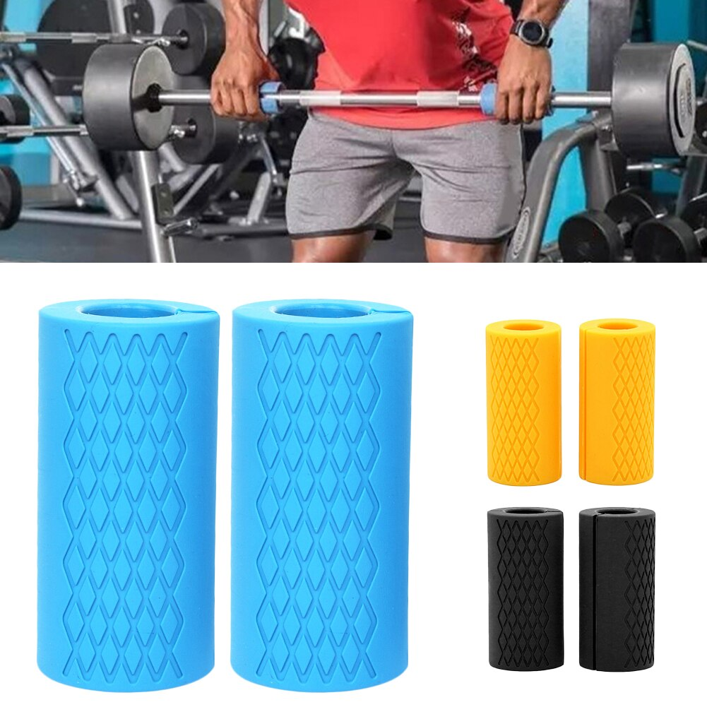 1 Pair Silicone Barbell Dumbbell Grips Thick Bar Handles Silicone Anti-slip Pad Thick Bar Handles Pull Up Weightlifting Fat Grip