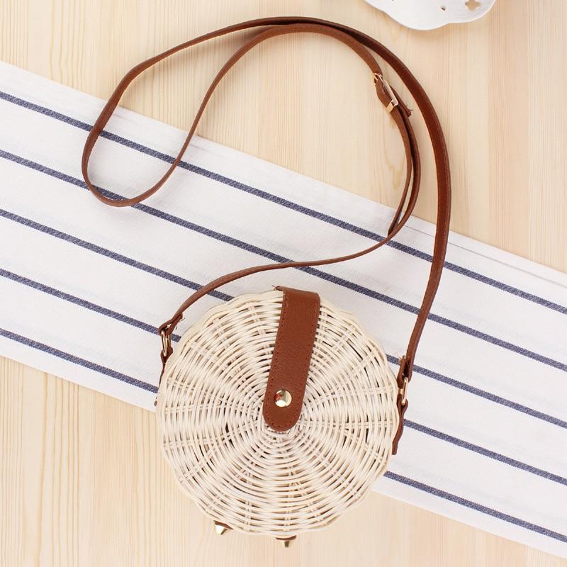 Vintage Handmade Rattan Bag Women Summer Round Straw Shoulder Small Beach HandBags Crossbody Leather small