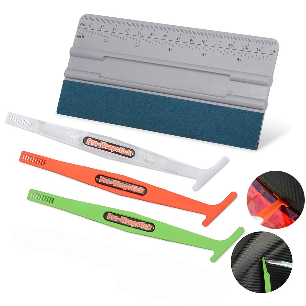 Foshio adesivos de carro folha canto lado vinil envoltório ímã rodo camurça feltro raspador filme fibra carbono faca kit ferramentas estilo
