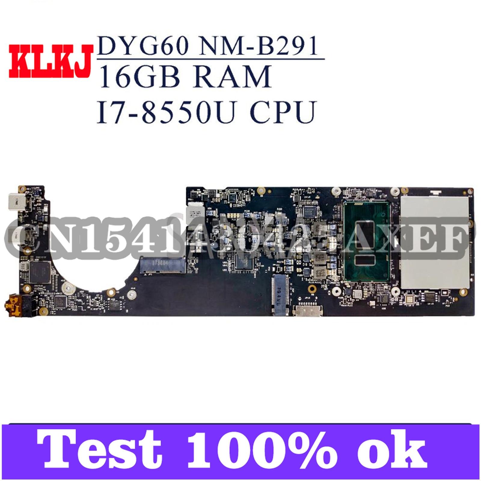 KLKJ NM-B291 اللوحة الأم للكمبيوتر المحمول لينوفو اليوغا 920-13IKB الأصلي 16GB-RAM I7-8550U
