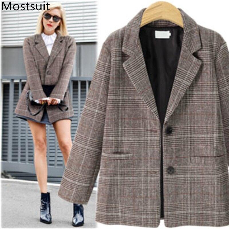 Vintage moda Plaid mujer Blazers chaquetas Otoño Invierno solo pecho entallado bolsillos Casual Blazers abrigos café gris 2019