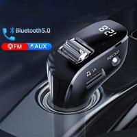 Bluetooth 5,0 Aux гарнитура беспроводной автомобильный комплект двойное зарядное устройство Usb автомобильное радио Fm-модулятор Автомобильный Fm-пе...