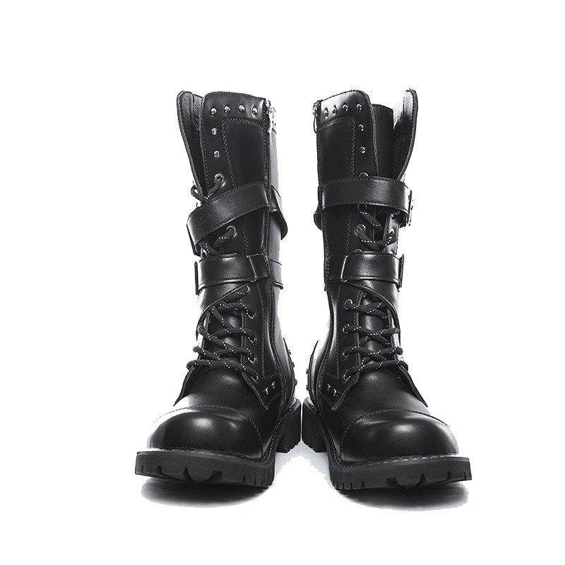 Men Mid-Calf Side Zipper Boots Winter Men Shoes Thickness Platform Metal Buckle Belt Rock Punk High Top Boots Botas Hombre Youth
