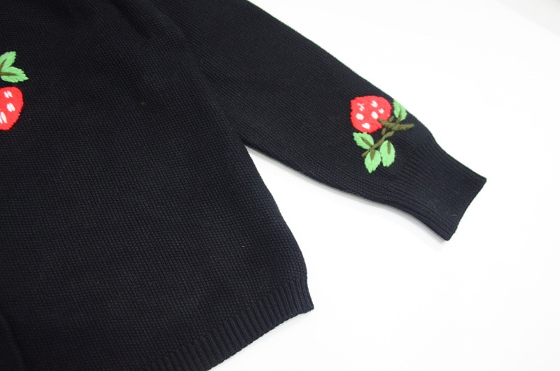 2021 Sweater Crew Neck Black Cardigan Long Sleeve Embroidery  Fashion Women Clothes enlarge