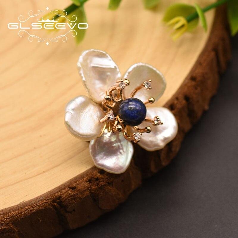 GLSEEVO Baroque White Pearl Brooch Pin Flower Brooch For Women Girl Engagement Luxury Jewelry Women Accessories Broszki GO0349B