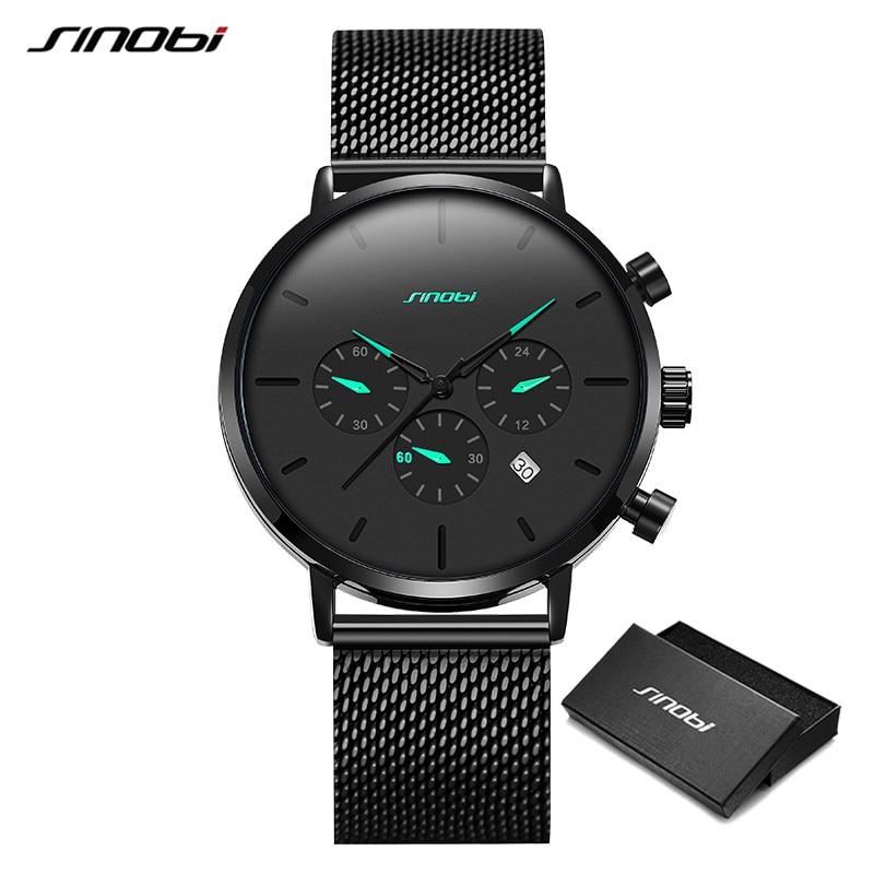 SINOBI Mens Watches Top Brand Luxury Men's Business Quartz Wristwatch Men Sport Slim Mesh Steel Watches Relogio Masculino