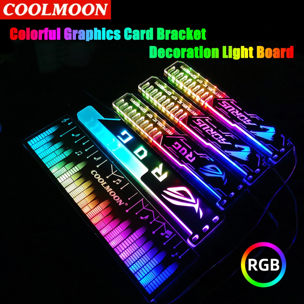 Coolmoon 25cm Graphics Card Bracket Support Frame GPU Holder 5V 4PIN RGB Colorful Decorative Light Board PC Chassis Accessories