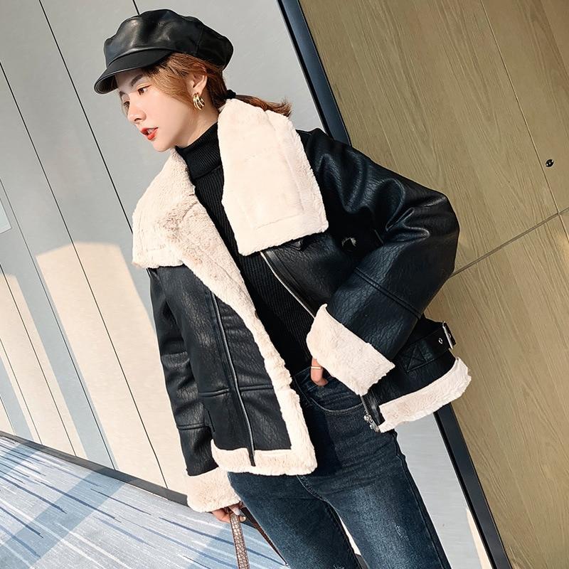 Short Faux Leather Autumn Winter Plush Thick Women Korean Zipper Loose Streetwear Lambs Wool Winter Coat Warm Motorcycle Jackets enlarge