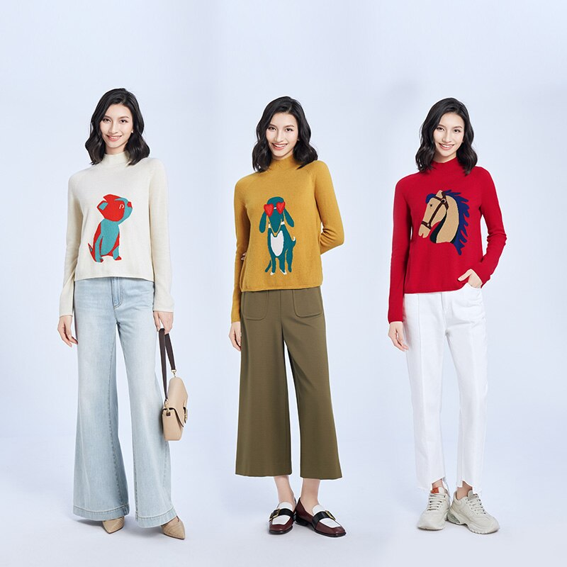 Tailor Shop Custom MadeAll Cashmere Loose Half High Neck Cashmere Sweater Women Knit Sweater Sweater enlarge