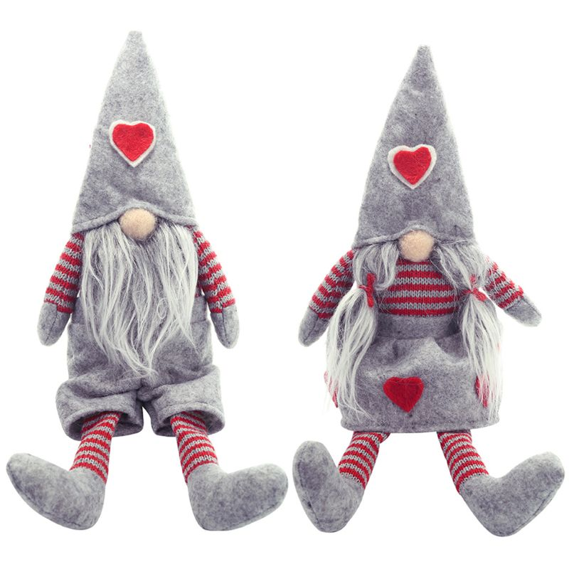 2Pcs Valentine's Day Tomte Gnome Swedish Plush Dolls Handmade Gnome Ornaments Holiday Valentine's Day Xmas Decor Party Supplies