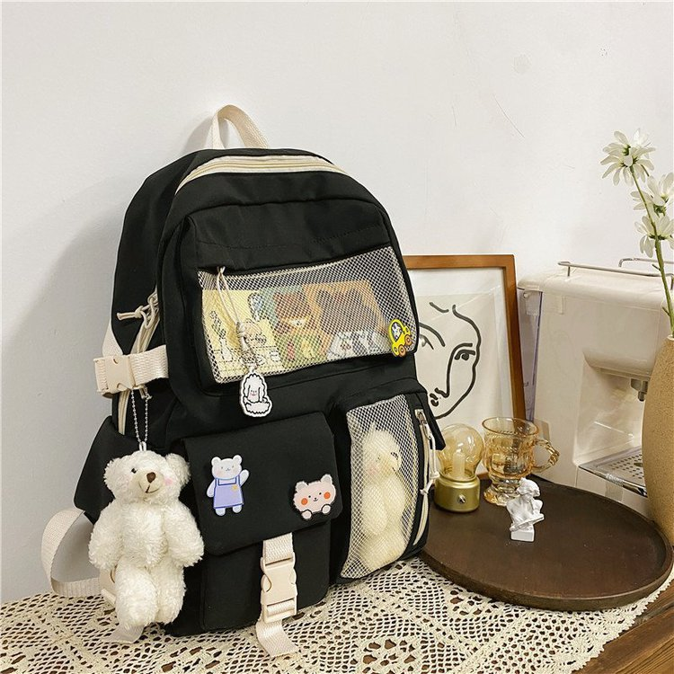 Splicing Network Backpack Girls Kawaii Cute Schoolbag For Teens Female Korean Harajuku Large Capacit
