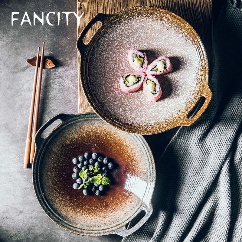 FANCITY-قرص خزفي كبير مع أذنين متقاطعتين ، طبق بورسلين مزجج ملون متطور ، أطباق خضروات منزلية