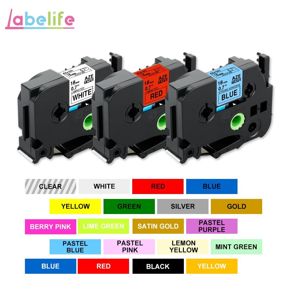 Labelife 1PC tze-241 tze641 label tape 18mm Black on White tz241 tze-141 Compatible for Brother P-Touch Label Printer PT-D600
