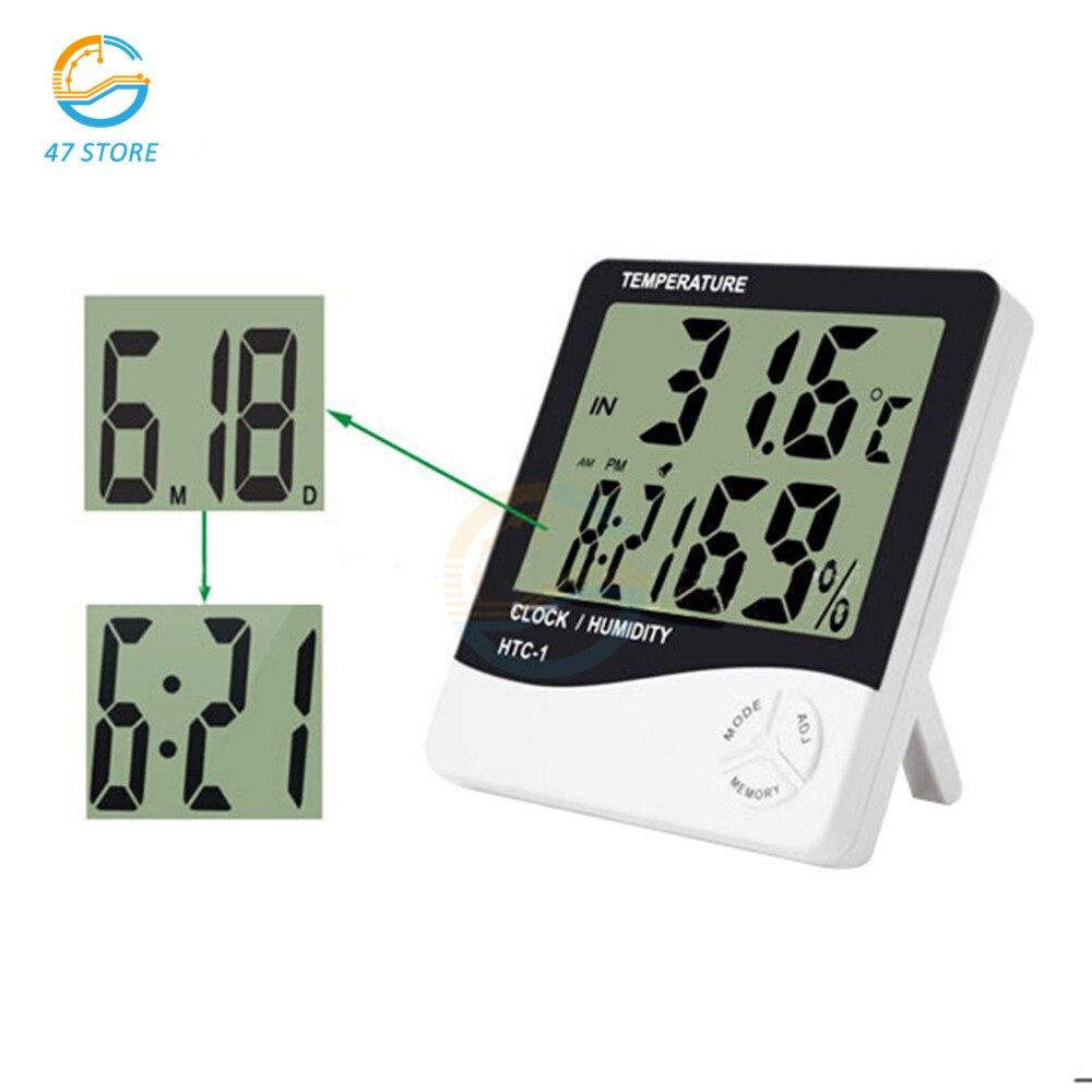 HTC-1 Термогигрометр, погодные часы с цифровым дисплеем, гигротермограф для детской комнаты, гигрометр, внутренний гигрометр для дома