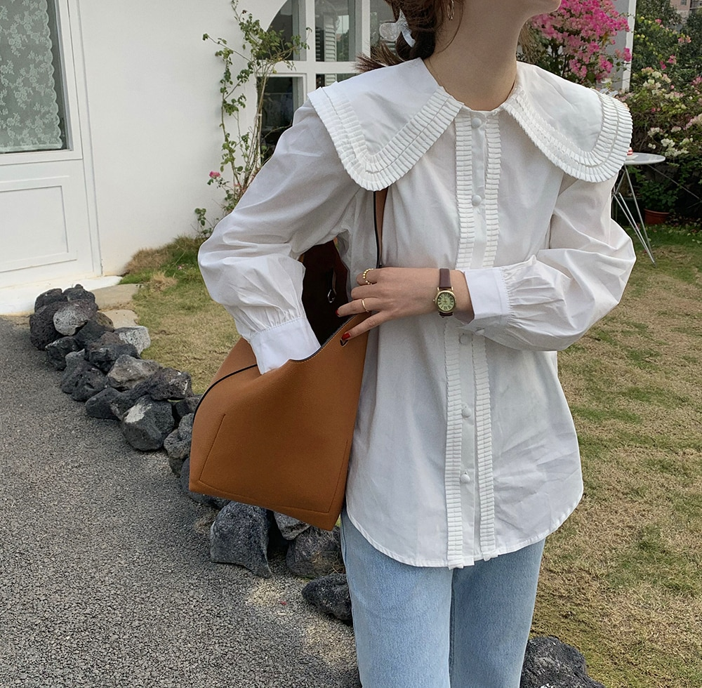 Hcb4a9e1cb842442fa77544fff9a0a1206 - Spring / Autumn Frilled Big Lapel Collar Long Sleeves Solid Blouse