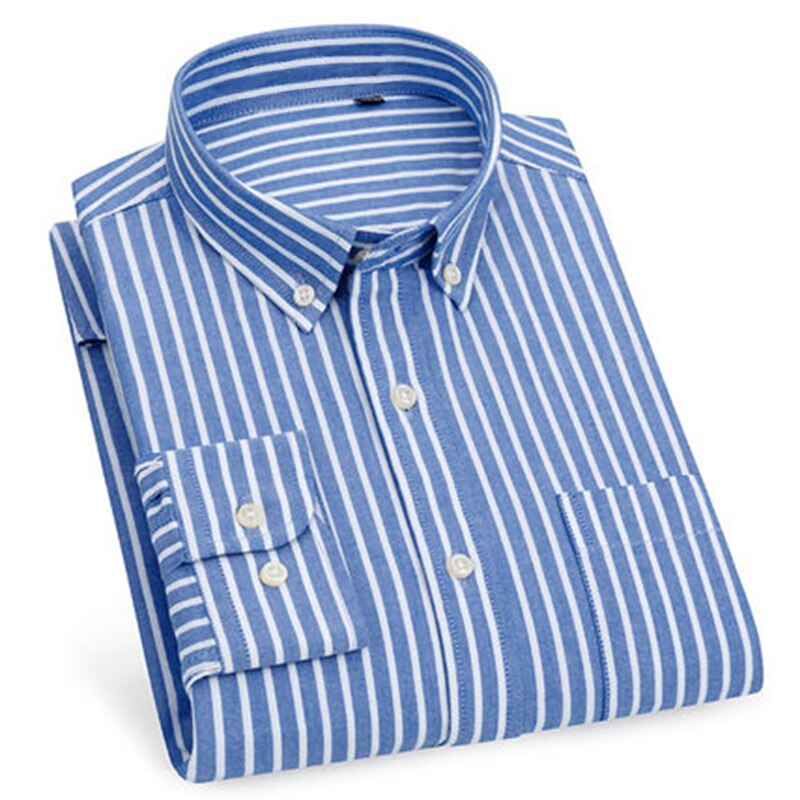 Shirts for Men New Spring Autumn Lapel stripe Shirt Business Leisure Fashion 100% Cotton Oxford Office Jobs Men Shirt 8 style