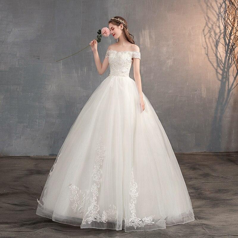 2019 fuera del hombro vestido de novia Apliques de encaje Vintage vestido de novia princesa sueño vestido de boda China vestidos de novia