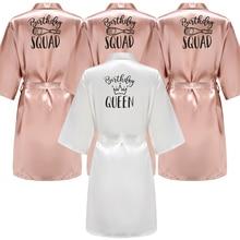 Birthday Queen&Squad Party Robe Satin Women Princess Favor Ladies Dressing Gift kimono