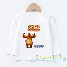 Cute Grizzly Bear And Lemming Cartoon Print Kids Funny T-Shirts Girls Clothes Baby Boys Long Sleeve