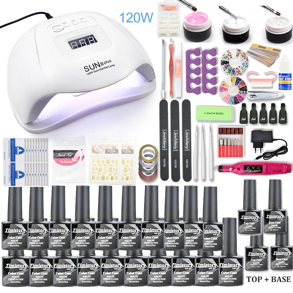 Nail set 120W UV LED LAMP for Manicure Gel nail polish Set Kit Gel Varnish Electric Nail Drill Manicure Sets Nail Art Tools