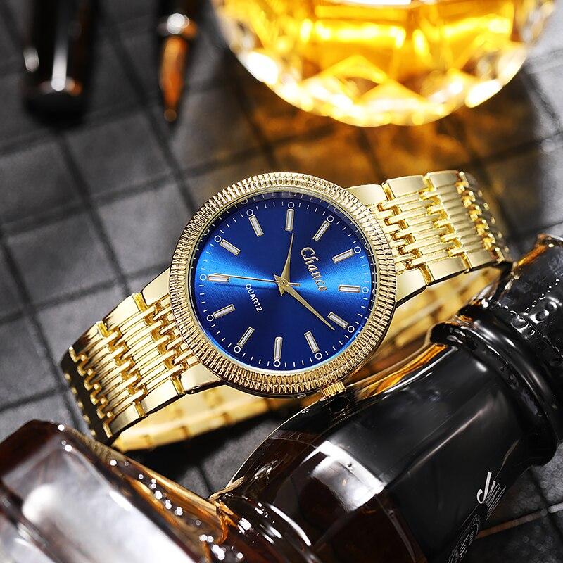 Топ бренды роскошные золотистые Мужские кварцевые часы из нержавеющей стали модные западный стиль Мужские наручные часы Мужские часы Montre ...